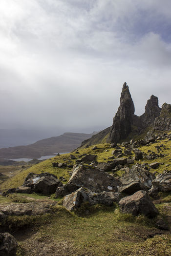 Isle Of Skye Skye Scotland United Kingdom Cloud - Sky Sky Beauty In Nature Rock Tranquil Scene Tranquility Scenics - Nature Environment No People Nature Day Landscape Mountain Rock - Object Solid Non-urban Scene Land Outdoors Fog Mountain Peak Storr Old Man Of Storr
