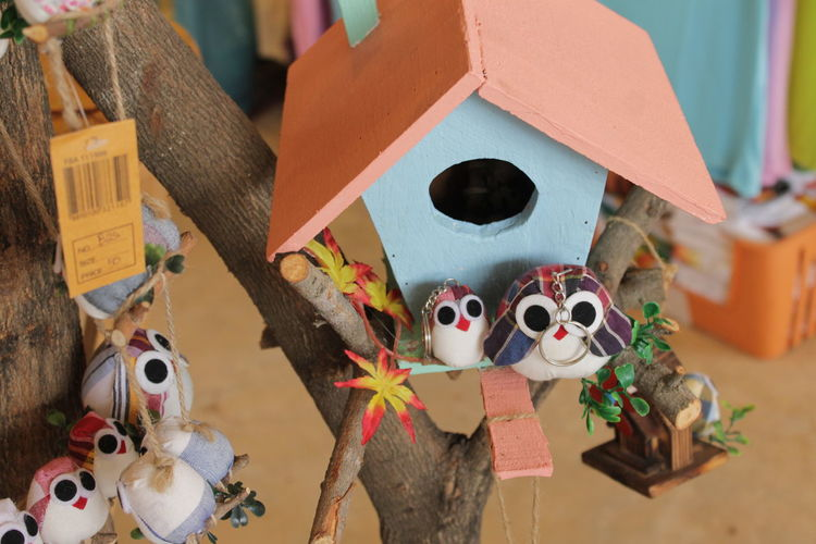 High angle view of birdhouse with bird toys for sale in store