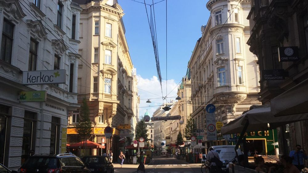 The Nebaugasse in Neubau, Vienna Neubau Europe Baroque Style Altbau Josefstadt Vienna Building Exterior Built Structure Architecture City Sky Street Building Group Of People Real People Day Crowd Clear Sky Outdoors Large Group Of People Nature City Street Women Incidental People City Life Adult
