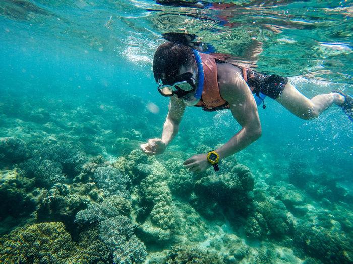 Mid adult man scuba diving undersea