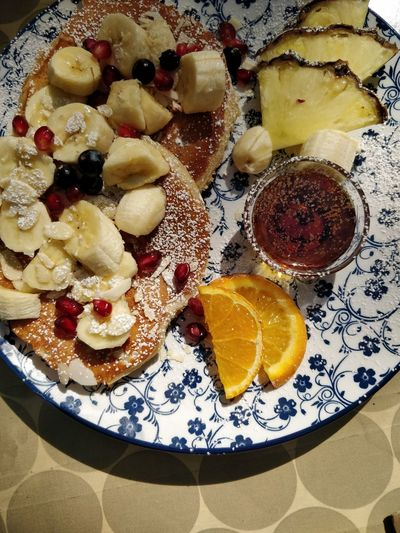 Pancakes Brunch Dessert Homemade Plate Directly Above Close-up Sweet Food Food And Drink