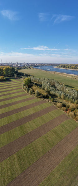 Rheinaue in Cologne-Worringen Landscape Field Day Land Cloud - Sky Green Color Aerial Shot Drone Photography Rhine River Industrial Landscapes