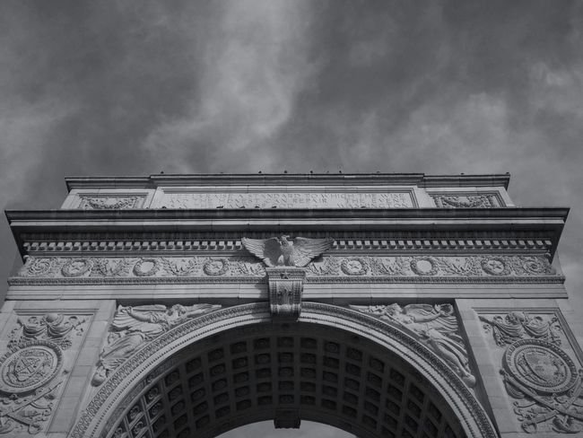 black and white at Arch at Washington Square Park Black And White