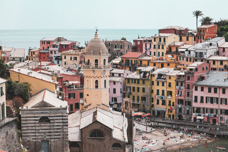 Vernazza EyeEm Selects Cityscape Sea City Water Sky Architecture Building Exterior Residential Structure TOWNSCAPE Residential District Crowded Settlement Townhouse Rooftop Tiled Roof  Housing Settlement Residential Building Shore Human Settlement Town Boat Old Town