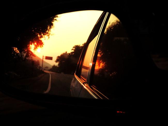 The Street Photographer - 2017 EyeEm Awards The Week On EyeEm Car Land Vehicle Mode Of Transport Mountain Nature Road Side-view Mirror Sky Sunset Transportation Tree Vehicle Mirror