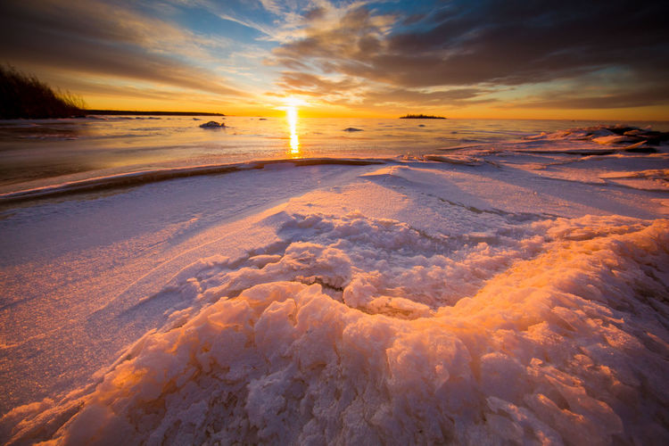 Frozen Baltic Sea During Sunset