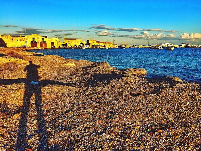 Day Sky Sunlight Outdoors Shadow One Person Blue Water Beauty In Nature Nature Sunny Day Mediterranean Sea Autumn November Clouds And Sky Sicilian Weather Boats Siracusa Marzamemi Travel Destinations Igerssiracusa Sea And Sky Sea Sicily Beautiful Place