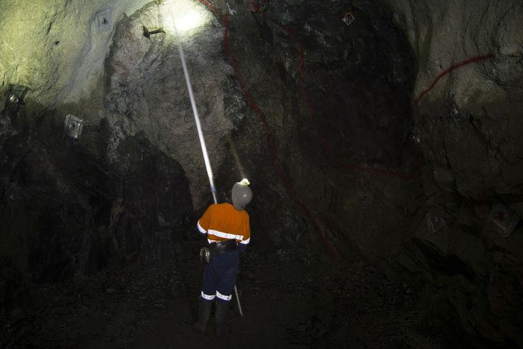 Underground Miner Cleaning Ore Drive Face Underground Miner Mine Mining Tunnel