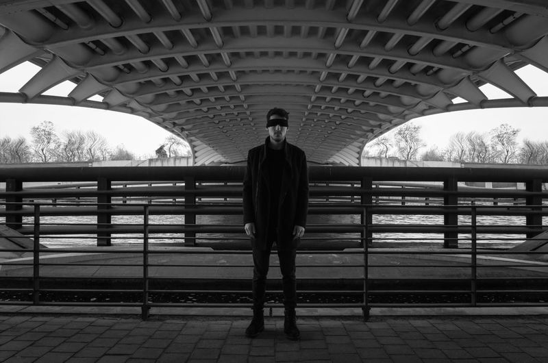 Its too late. Portrait Photography Portrait Bnw Black And White Black Detail Back Trees Blind Bridge Politics And Government City Standing Bridge - Man Made Structure Full Length Symmetry Arch
