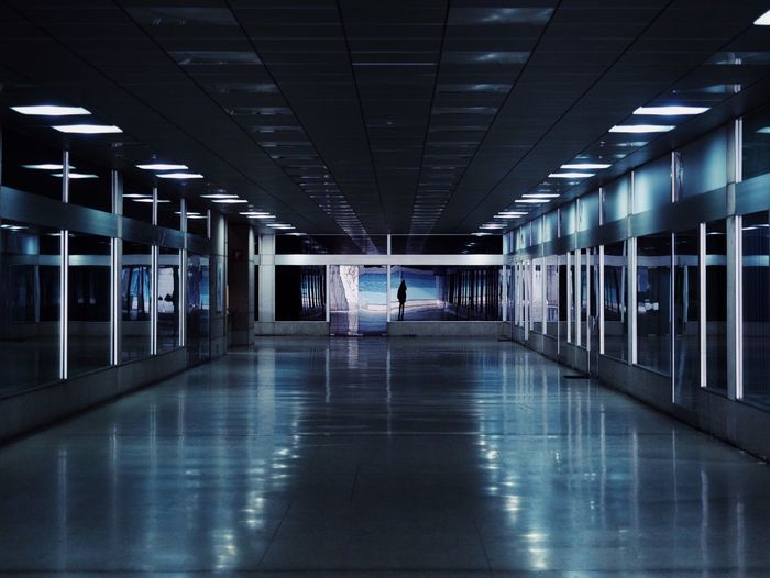 Illuminated Architecture Ceiling Indoors  Reflection Flooring Direction Diminishing Perspective Modern Electric Light The Way Forward Empty