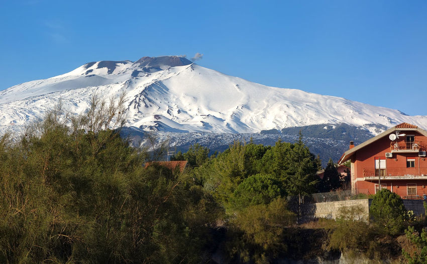 Landscape Volcano Crater Nature Etna Nicolosi Catania Sicily Italy Tree Mountain Snow Clear Sky Snowcapped Mountain Sky Mountain Range Architecture