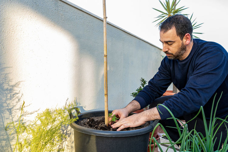 Young man working by potted plant against wall