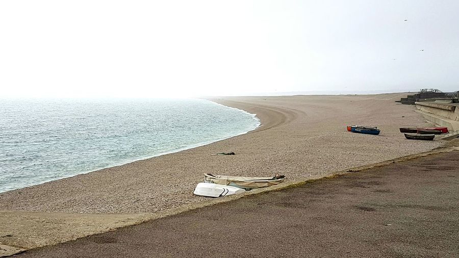 Chesil Beach Shingle Bank Deserted Sea Mist Chesil Dorset Portland Dorset Fishing Boats Shingle