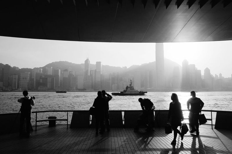 Tourists overlooking Victoria Harbour, Hong Kong. HongKong Streetphotography Black And White Monochrome Travel My Best Photo 2014