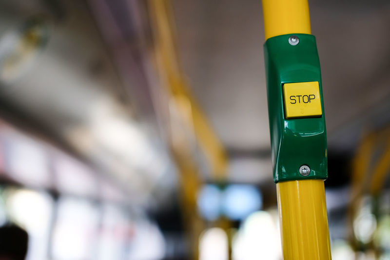 Bus Bvg BVG - Berliner Verkehrsgesellschaft Close-up Day Defocused Focus On Foreground Green Color Illuminated Interior Multi Colored Part Of Selective Focus Stop Stop Button Vertical Weilwirdichlieben Yellow