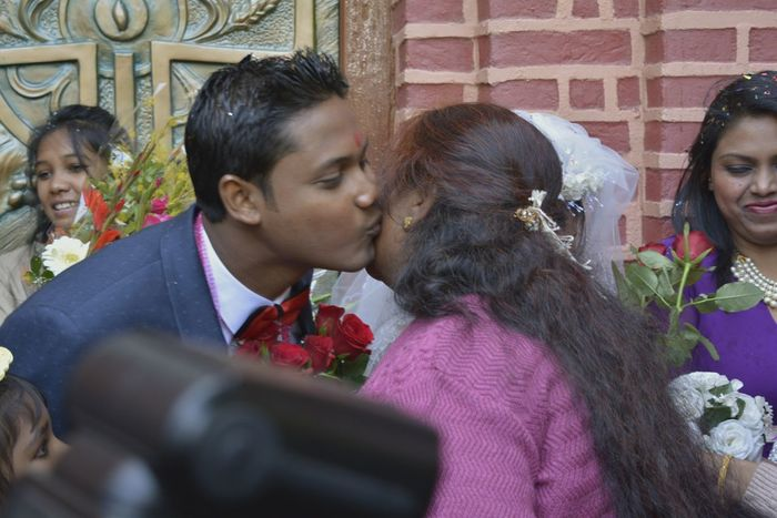 Up Close Street Photography Outsidechurch Kissed by The Groom Greetings Congratulations Exchanging Love Cousin Wedding Ranchi Jharkhand India Daylight Afternoon Telling Stories Differently Moment Capture The Moment