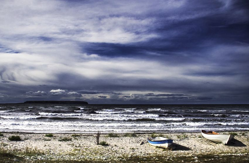 Swedish coastline on Gotland Sea And Sky Seashore Boat Island