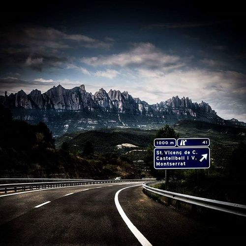Montserrat Road Barcelona Travel Travelling Work Clouds Piranese Mountains Photography Photo Instadaily Instagood Canon Canonuk Empty Lanes White Lines Roadsign Can_1200d