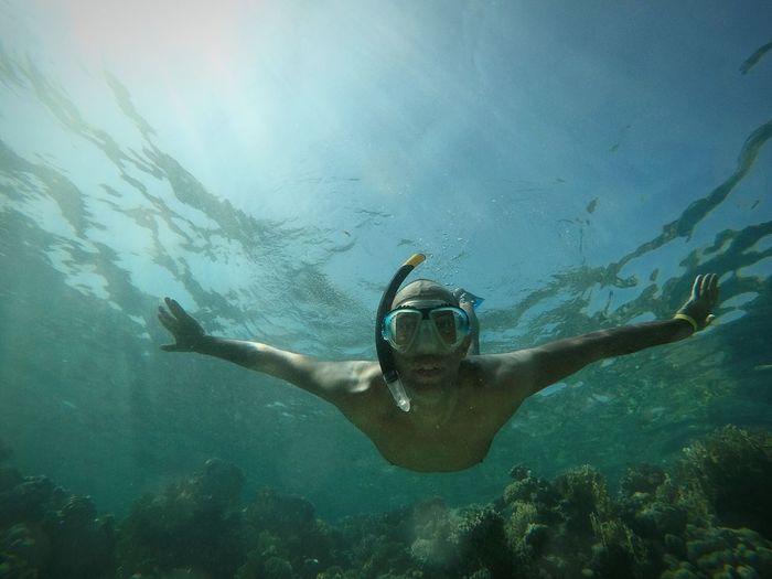 Young man scuba diving undersea