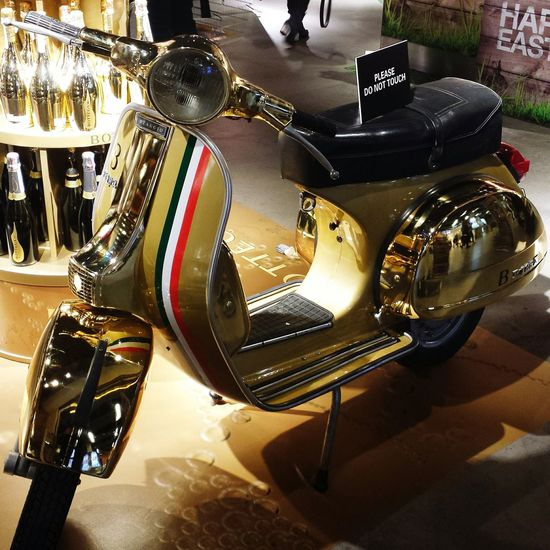 At The Airport Schipolairport VESPA Bella Vespa Check This Out Amsterdam Bike Gold Bling Bling Golden