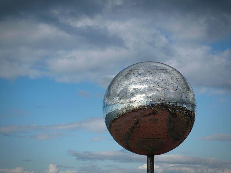 Sculpture Sphere Mirror Reflection Cloud - Sky Outdoors Globe Reflections Sea Front Promenade Sky Seaside Sea Blue Blue Sky Water Blackpool