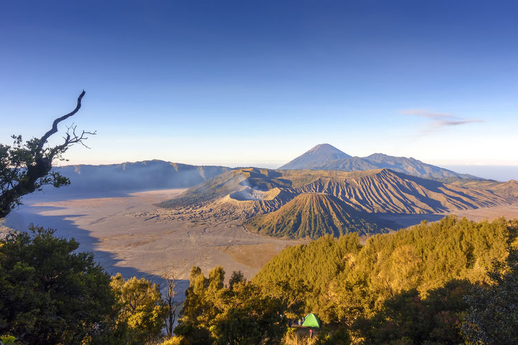 Beautiful sunrise scenery at Mount Bromo, Indonesia Travel Beauty In Nature Bromo Mountain Day Environment Idyllic Land Landscape Mountain Mountain Peak Nature No People Non-urban Scene Outdoors Physical Geography Plant Scenics - Nature Semeru Mountain Sky Tranquil Scene Tranquility Travel Destinations Tree Volcanic Crater Volcano