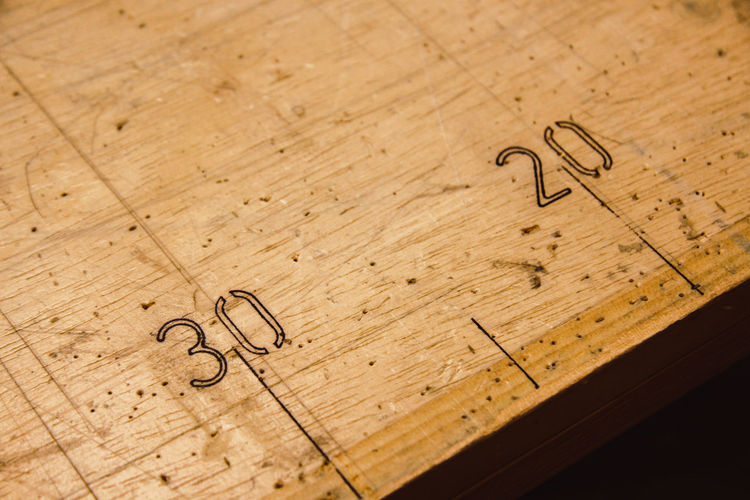 High Angle View Of Numbers On Wood