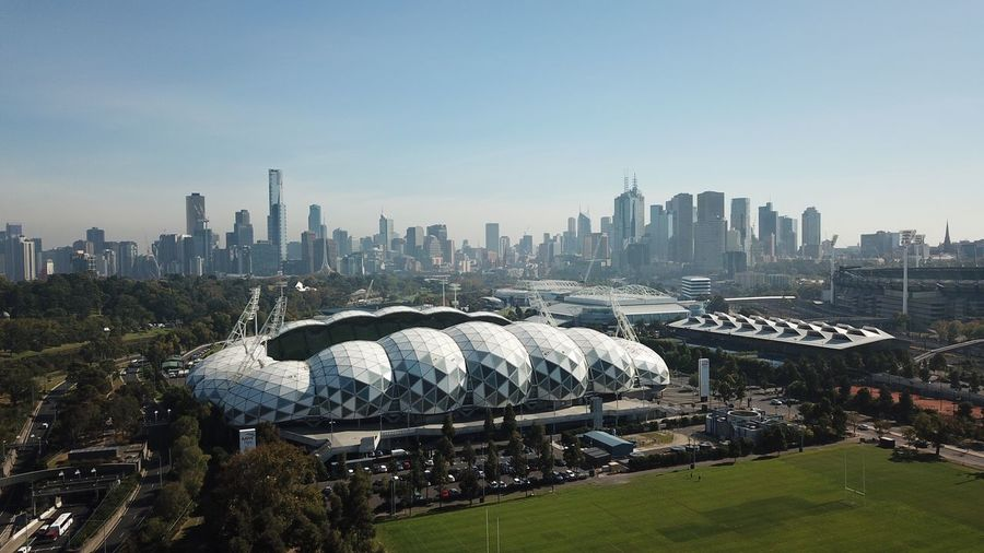 DJI Mavic Pro Drone  Aerial Aerial View Victoria Australia Hazy  Melbourne Sport Sports Venue Architecture Building Exterior Built Structure City Sky Office Building Exterior Building Urban Skyline Cityscape Skyscraper Residential District Nature Clear Sky Outdoors Travel Destinations Landscape Day Water Modern