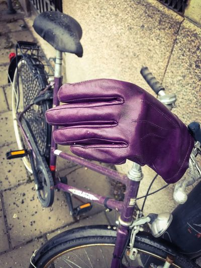 Purple ShotOnIphone Purple Gloves Purple Bicycle Bicycle Lost Glove Gloves Glove Purple Stockholm Bicycle Human Hand Transportation One Person Mode Of Transport Land Vehicle Cycling Wheel Mechanic Outdoors Pedal
