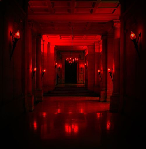 REDRUM Corridor Shining Redrum Blood Paris Halloween Jacknicholson Fear Scary Horror Horrorfilm Evil Redlight Streetphotography Hell Streetart 666 Dark Illuminated Red Nightlife Stage - Performance Space Arts Culture And Entertainment City Theatrical Performance Chair Waiting