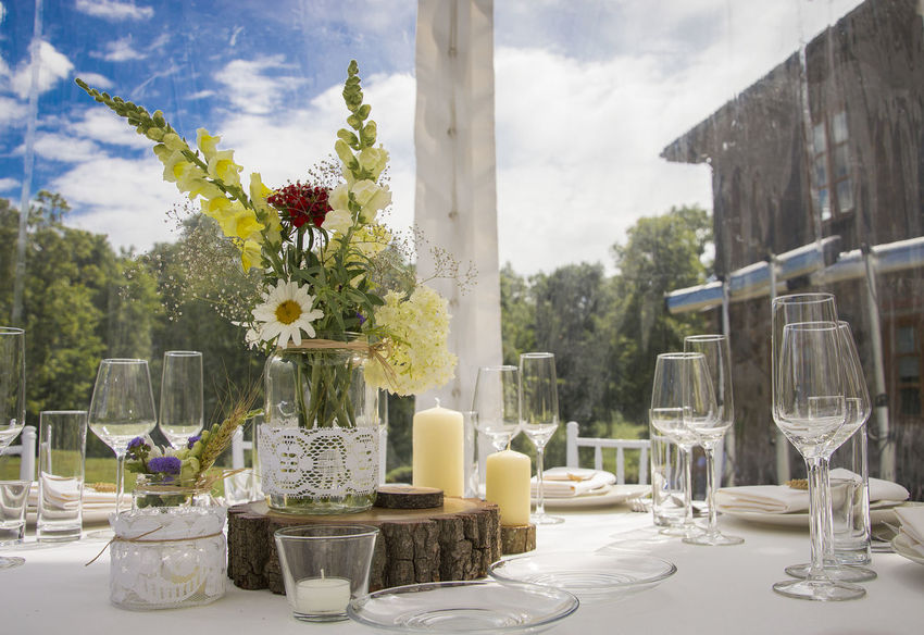 Tree Flower No People Table Sky Day Nature Flower Arrangement Outdoors Wine Moments Setting The Table Indoors  Plant Wineglass Indoors  Drinking Glass Bouquet Dining Table Bottle EyeEmNewHere Close Up Technology The Baltics Wine Not