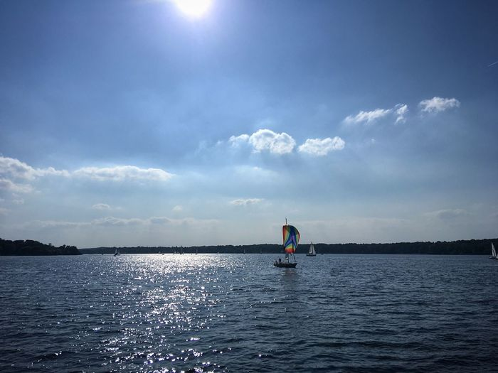 Havel Berlin Sailing Boattrip Boat Water Lake Berlin Havel Boattrip River Water Sky Cloud - Sky Beauty In Nature One Person Scenics - Nature Nature Waterfront Blue Full Length Outdoors Lifestyles Day