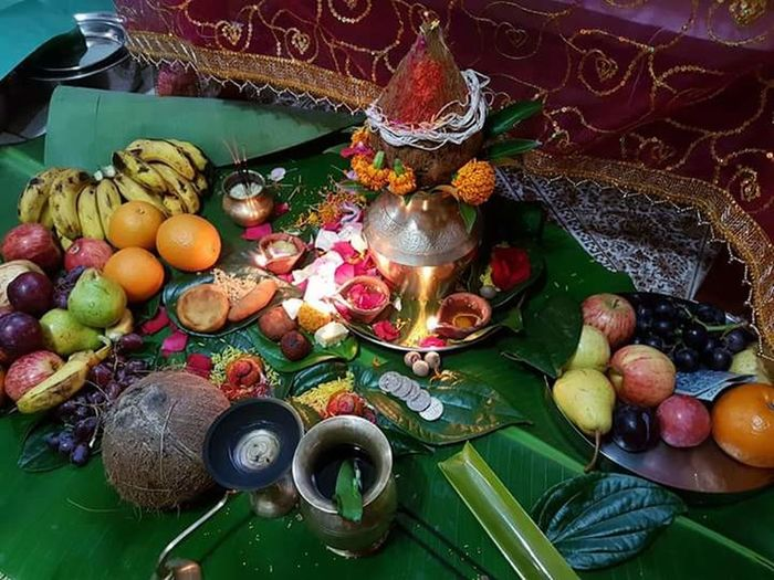 Hindu Fruit Food OM hindu prayer High Angle View Variation No People Indoors  Day Healthy Eating Close-up Freshness kalash Mantra Indian Philosophy Hinduism India Indian Culture  pujan Puja Vidhi