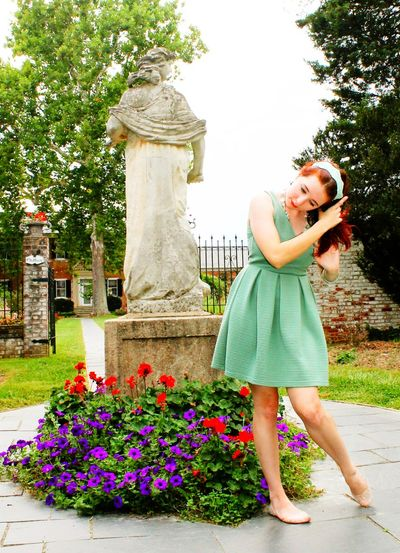 Gen with Statue Beauty In Nature Casual Clothing Day Flower Full Length Growth Leisure Activity Lifestyles Nature Outdoors Park - Man Made Space Plant Portrait Redhead Statue Tree