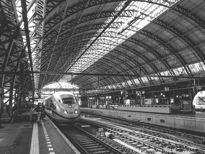 EyeEm Best Shots From My Point Of View Transportation Public Transportation Rail Transportation Railroad Track Train - Vehicle Railroad Station Platform Railroad Station Mode Of Transport Travel Indoors  Day Built Structure Subway Train Architecture Commuter Train No People Sky