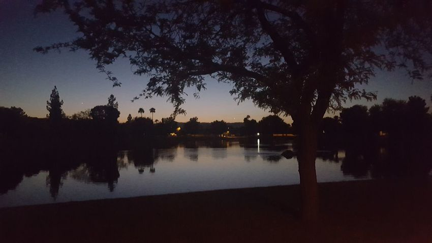 Nature No People Sky Night Outdoors Reflection Tree Silhouette Water Tranquility Scenics Reflection Beauty In Nature City Luminosity
