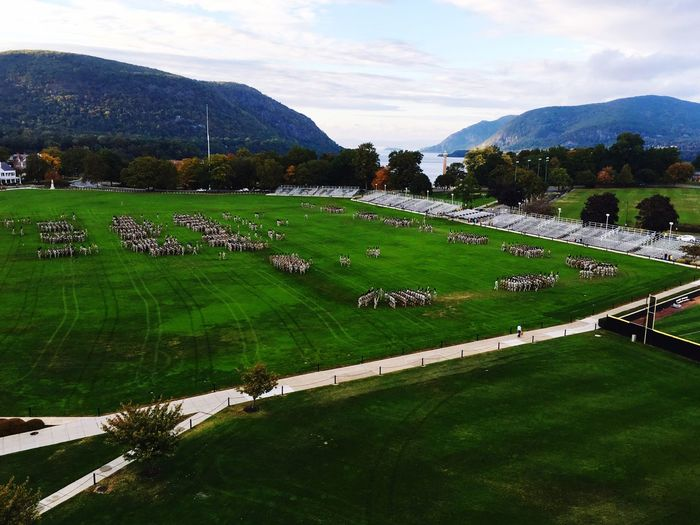 The West Point Corps of Cadets perform drill in the beautiful historic Hudson Vally overlooking the Hudson River. Drill Hudson River Landscape Marching Military Mountain Range Usma  West Point