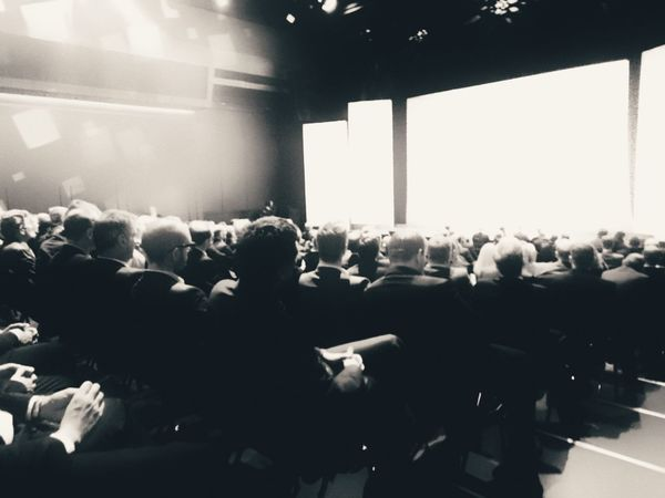 Mass hypnosis... Audience Crowd Stage - Performance Space Large Group Of People Auditorium Projection Screen Adult Monochrome Monochrome Photography