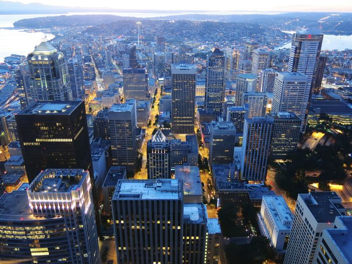 High Angle View Of Cityscape During Dusk