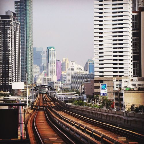 The modern side of Bangkok Thailand . Skyline Skyscraper Architecture Architecture_collection Railroad Track Transportation Urban Landscape Urban Geometry Eye4photography  EyeEm Gallery Travel Photography Exploring Canon Built Structure Building Depth Of Field Cityscapes City