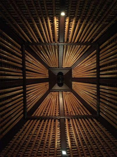 Balinese Architecture Bamboo Roof Structure Pattern No People Indoors  Built Structure IPhoneography Unedited Photo Gentle Lights Symmetry In Roof Structure