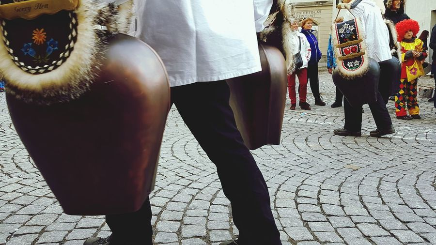 Low Section Human Leg Adult Adults Only People Togetherness Human Body Part Outdoors Close-up Day Real People Miles Away EyeEm Gallery EyeEm Best Shots Austria Vorarlberg  Feldkirch  Cowbells Heavy Metal Heavy Lifting Carnival Fasnacht 2017 Only Men Carnival Crowds And Details
