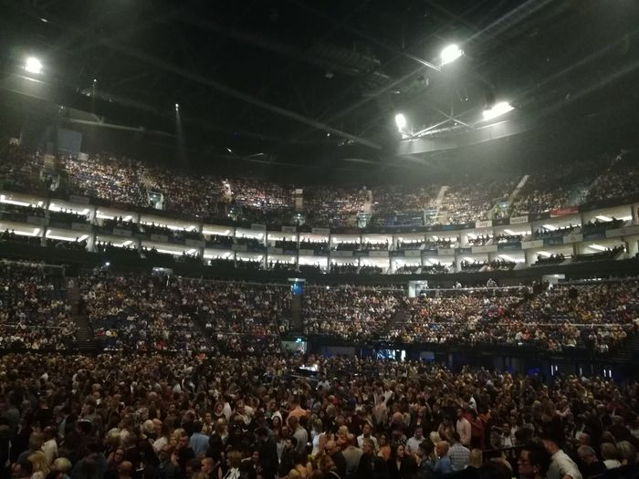 London O2 Arena Arts Culture And Entertainment Audience Crowd Excitement Fan - Enthusiast Group Of People High Angle View Illuminated Indoors  Large Group Of People Lighting Equipment Looking Music Night Performance Popular Music Concert Real People Rock Music Spectator Sport Stadium Stage Watching