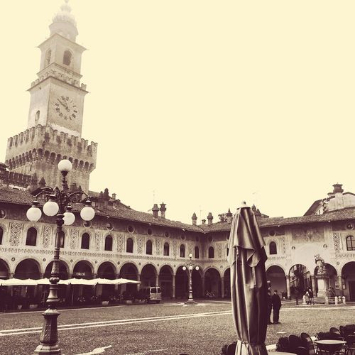 A Blackandwhite View of the wonderful Piazza Ducale in Vigevano Architecture Clock Tower Travel Destinations Travel Built Structure Building Exterior Tourism Outdoors Low Angle View City Reinessance Rinascimento Bramante Hidden Gems  Hidden Beauty Places To Visit Places To See Before You Die Italy Unknown