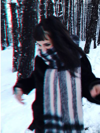 Young Women Blurred Motion Leisure Activity Day Outdoors Snow Winter Cold Temperature Young Adult Adult Tree Love Yourself