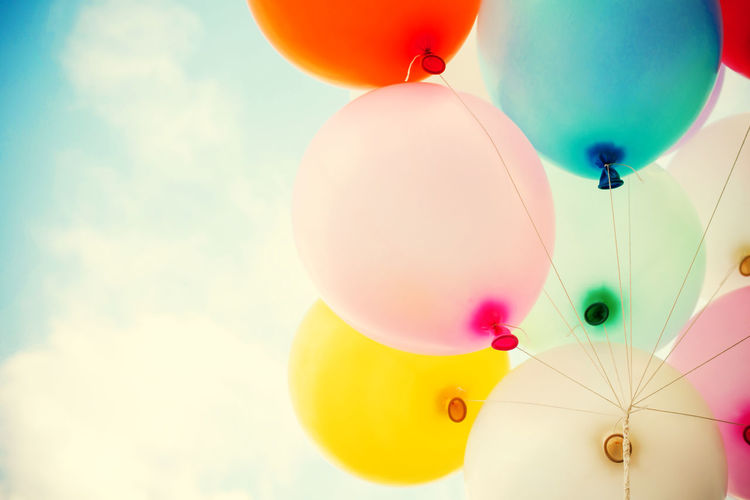vintage balloon with colorful on blue sky concept of love in summer and valentine, wedding honeymoon Balloons Vintage Backgrounds Abstract Colorful Bright Colors Celebration Helium Balloon Cloud - Sky Decoration Day Summer