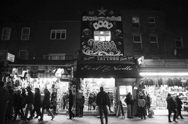 Evil from the Needle Black Building Exterior Camden Camden Market Camden Town Illuminated Large Group Of People Monochrome Night Tattoo Tattoo Shop
