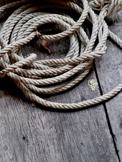 High angle view of ropes on boat