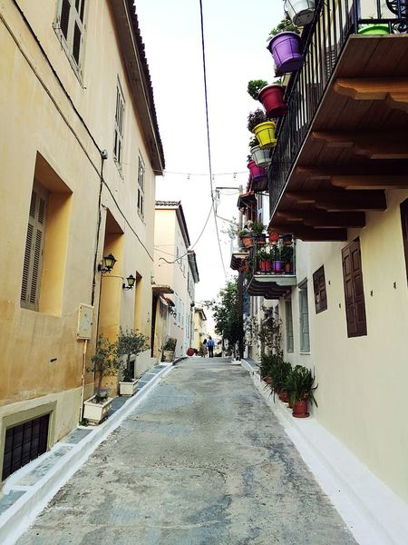 Road Colors Building Exterior Architecture Built Structure Street Diminishing Perspective Outdoors Narrow Town Vacations Greece Autumn Oldtown Oldcity Tradition Europe European Architecture Travel Photography Quality Time Romance