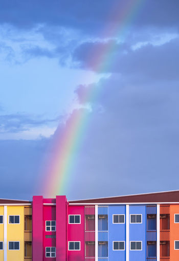 Rainbow over building against sky